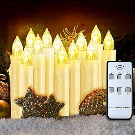 VicTsing Velas de LED Decorativas para Árbol de Navidad 12 Velas Eléctricas con Mando, Efecto Llama y Brillo Regulable para Decoración Navidad Boda ...