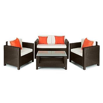 Blumfeldt Verona Juego de muebles para jardín 4 piezas Mimbre marrón ...