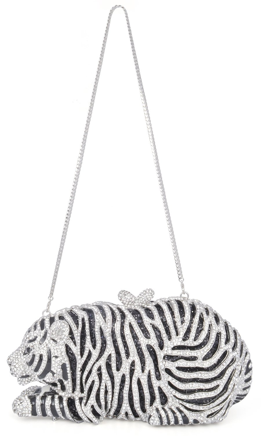 mossmon Luxury Crystal Clutches For Women Tiger Evening Bag (Silver) by Mossmon (Image #3)
