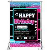 Happy Birthday Party Backdrop,Tic tok Birthday Decoration,Twinkle Pink Blue Backdrop,Musical Theme Party Supplies,Bling Pink