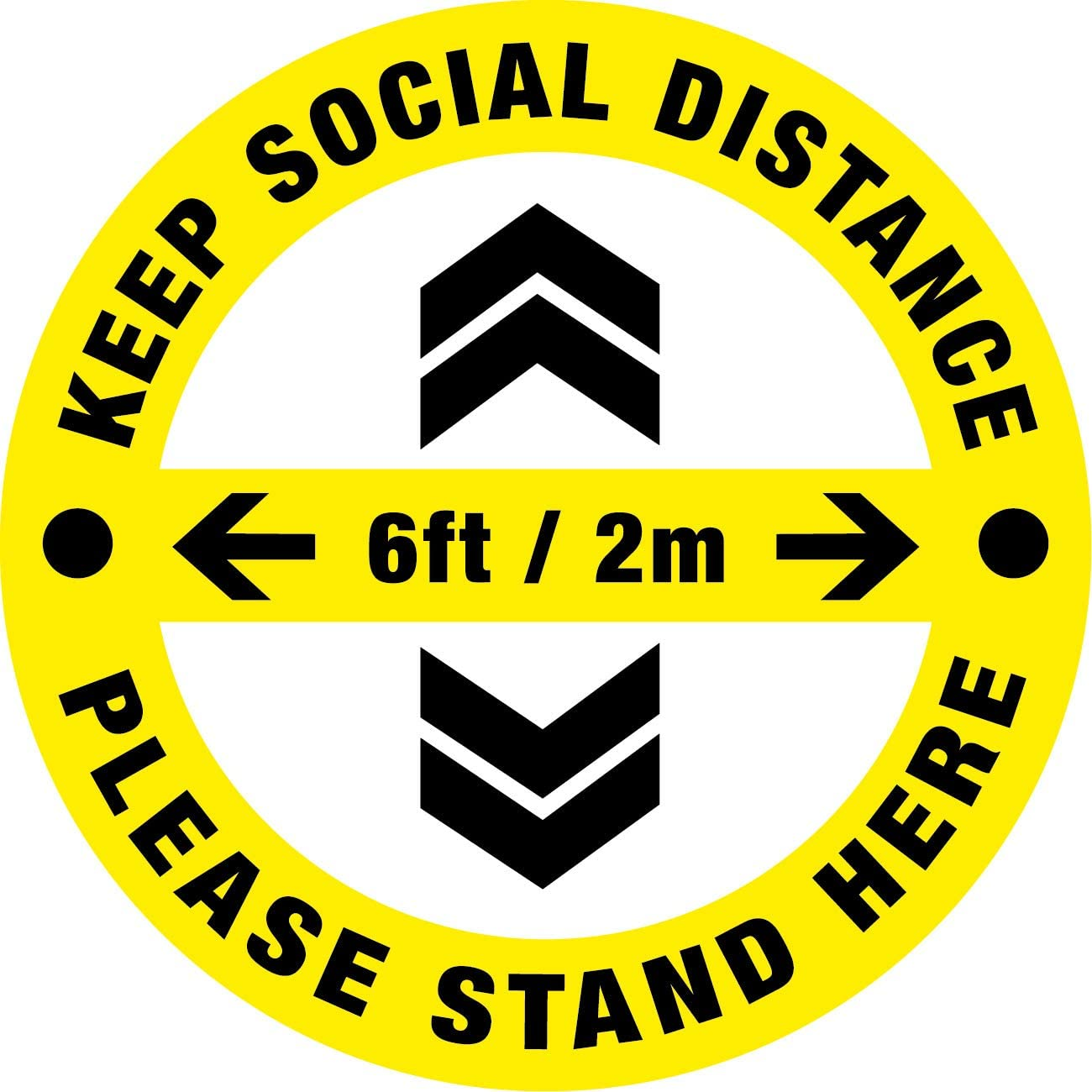 """Social Distancing Floor Decals - Bilingual English 10Pack 8.85"""" Safety Floor Sign Marker - Maintain 6 Ft Distance - Waterproof Anti-Slip Easy to Clean Removable Stickers"""
