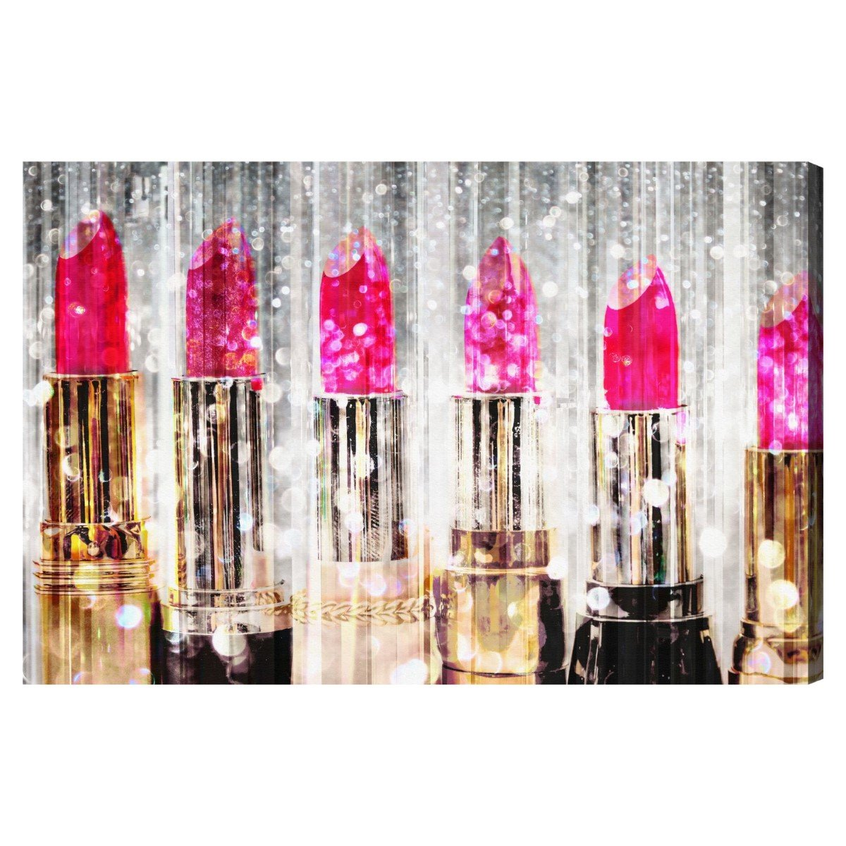Lipstick Collection' Contemporary Canvas Wall Art Print for Home Decor and Office. The Fashion Wall Decor Collection by The Oliver Gal Artist Co. Gallery Wrapped and Ready to Hang. 36x24 inch