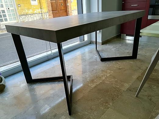 Mesa extensible con tablero de melamina - Base de metal y patas de ...