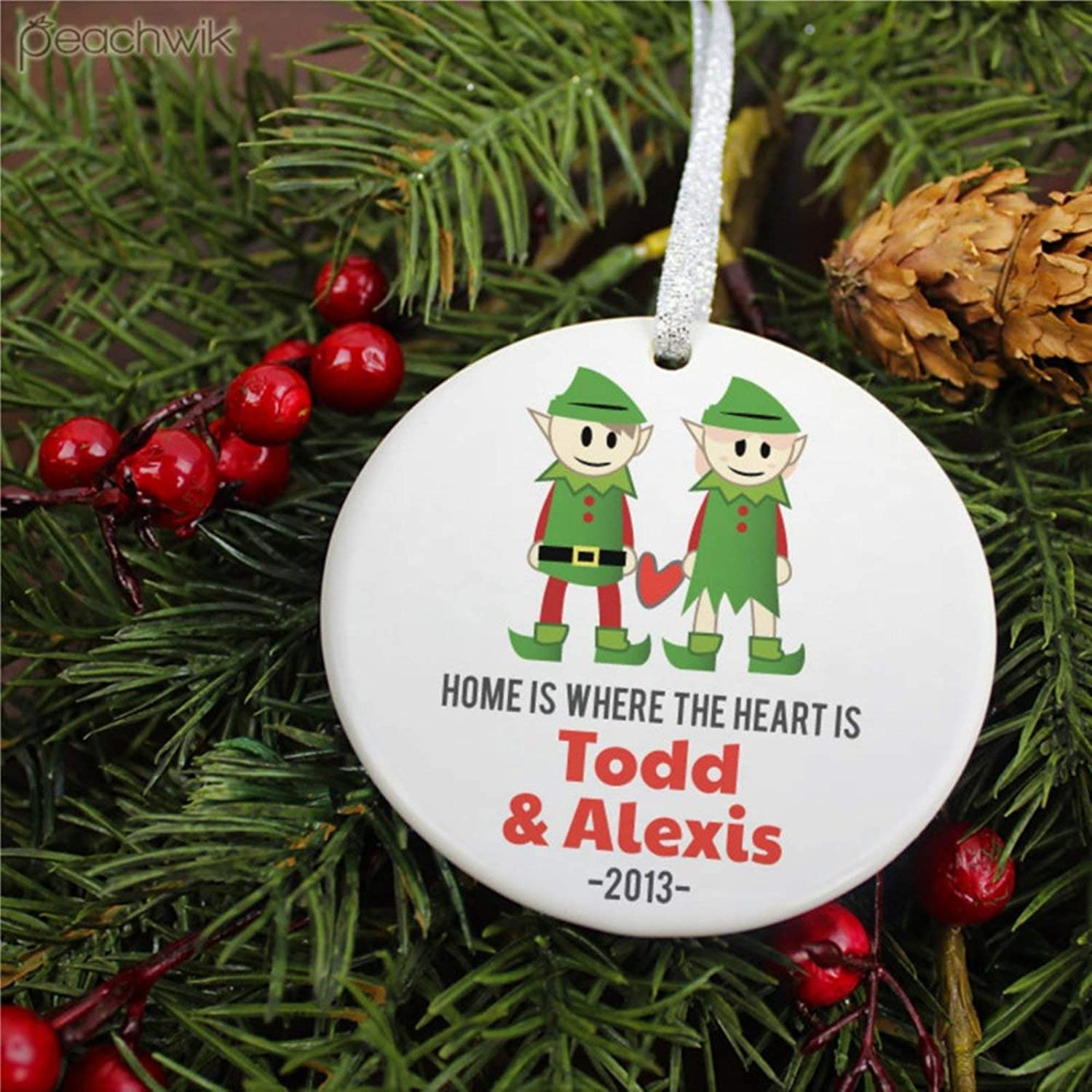 DONL9BAUER Home is Where The Heart Custom Christmas Ornament,elf New Married Holiday Ceramic Tree Hanging Keepsake Ornament Present for Family,Friends,Couple &Engagement Party.