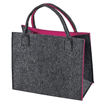50830fe2a2687 Filztasche Einkaufstasche Filz Shopper Festival Damen Handtasche grau-pink