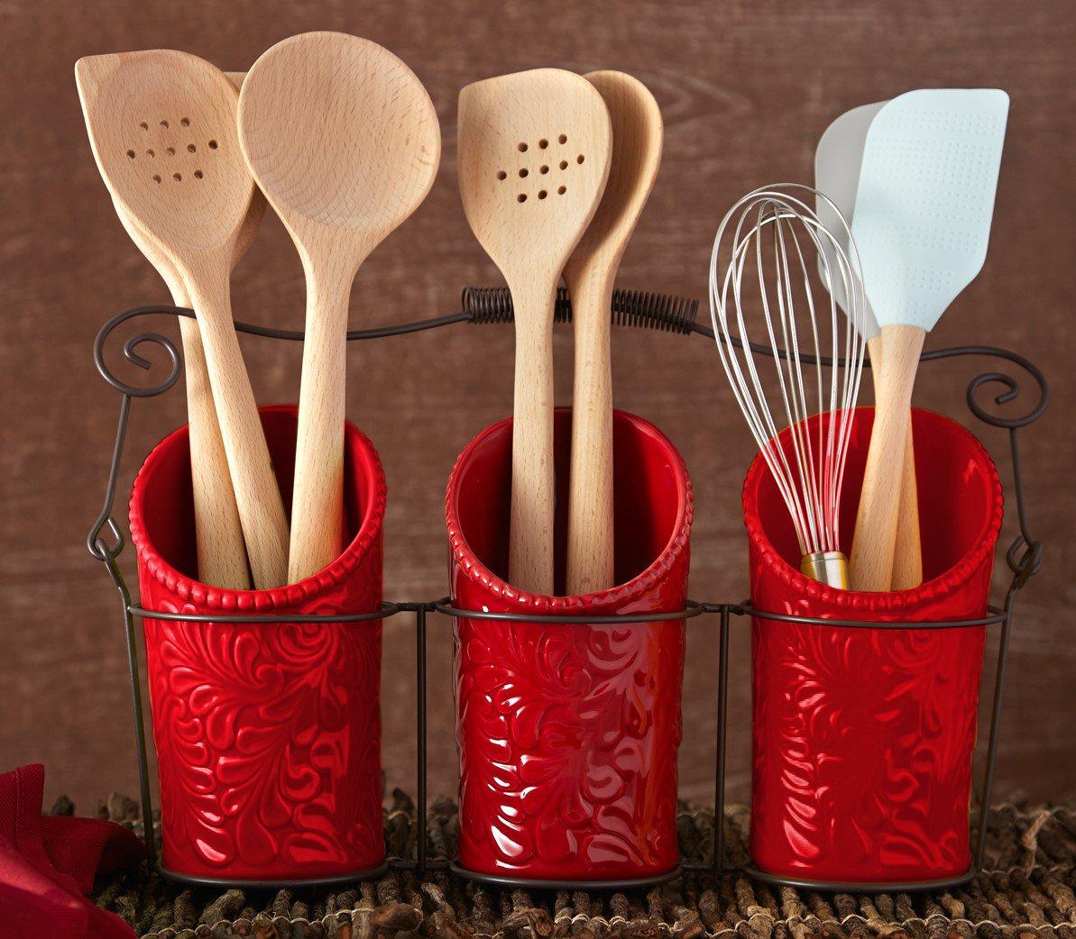 amazon com kitchen flatware caddy 3 ceramic utensil holders 4