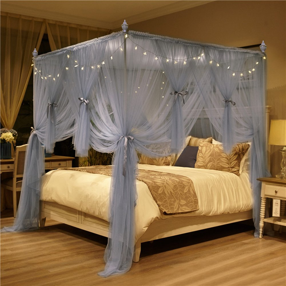 4 Corner Bed Canopy Curtain Mosquito Net with Led Light for Adults Boys Girls (California King(1 x Bed Canopy), Gray)