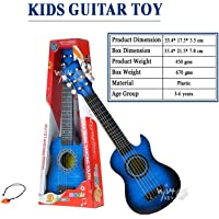 Wish key Fully Functional Adjustable Tunning Knob Plastic Wood-Finish 6 String Classical Acoustic Guitar Toys with Pick for Kids (Blue, 21 Inch)