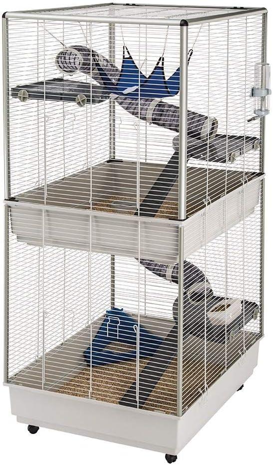 Ferplast Jaula para Hurones FURET Tower, Estructura Vertical en Varios Pisos, Ruedas y Accesorios incluidos, Alambre Pintado Gris y plástico, 75 x 80 x h 161 cm