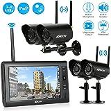 KKmoon Digital Wireless DVR Sicherheitssystem mit 7 Zoll LCD Monitor SD Karten Rekorder und 4 Lange Strecken Nachtsichtskamera