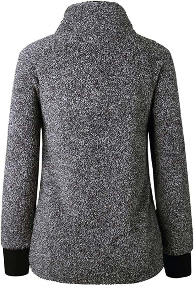 YAXAN Women Loose Plush Collar Long Sleeve Cotton Quilted Stitching Geometric Jacket Pattern Fleece Sweater Hoodies Color : Black, Size : L