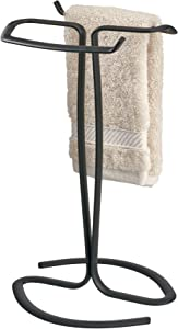 "iDesign Axis Metal Free-Standing Hand Towel Drying Rack for Master, Guest, Kids' Bathroom, Laundry Room, Kitchen, Holds Two, 7.75"" x 6.25"" x 13.5"", Matte Black"