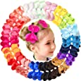 "JOYOYO 40Pcs 4.5"" Hair Bows Alligator Clips Grosgrain Ribbon Big Bows Clips For Girls Toddlers Kids Teens Children 20 Colors In Pairs"