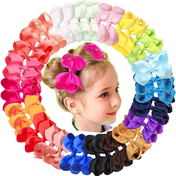 "HANDMADE LARGE 4.5/"" HAIR RIBBON BOW GIRL KIDS CHILDREN BABY ALLIGATOR CLIP"