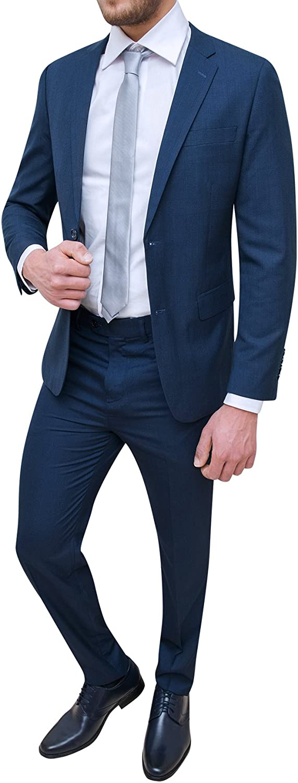 Abito Completo Uomo Sartoriale Blu Scuro Micro Fantasia Elegante Cerimonia