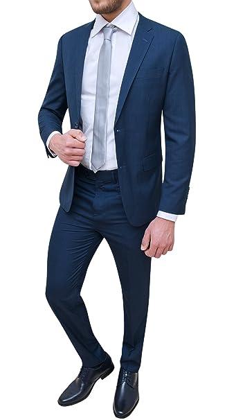 Abito completo uomo sartoriale blu scuro micro fantasia elegante cerimonia   Amazon.it  Abbigliamento 231a663f776
