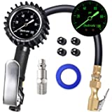 "AstroAI Upgraded 100 PSI Tire Inflator with Pressure Gauge, Heavy Duty with Large 2"" Easy Read Glow Dial, Air Chuck, Quick Connect Coupler and Rubber Hose Compressor Accessories"
