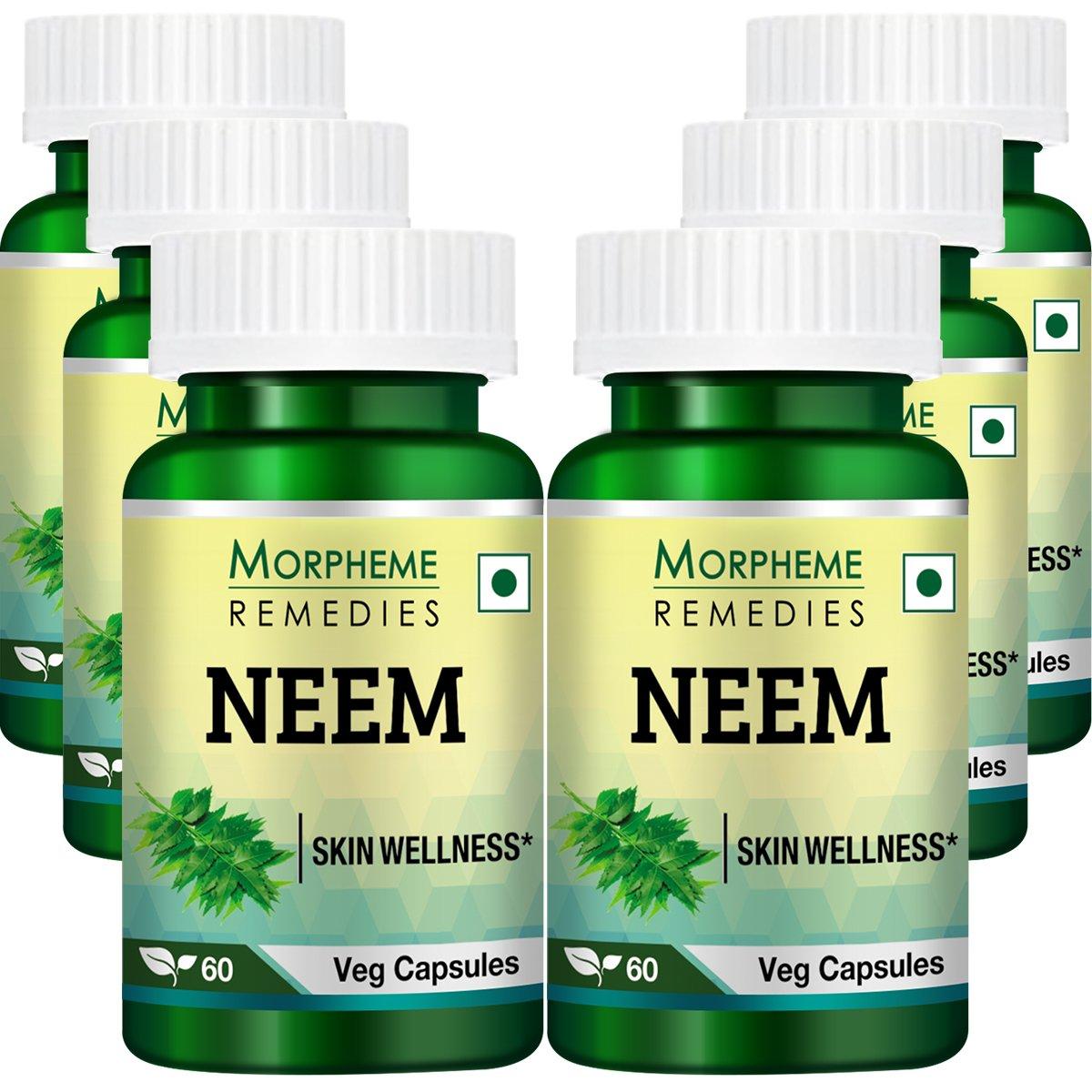 Morpheme Neem 500mg Extract 60 Veg Capsules - 6 Bottles