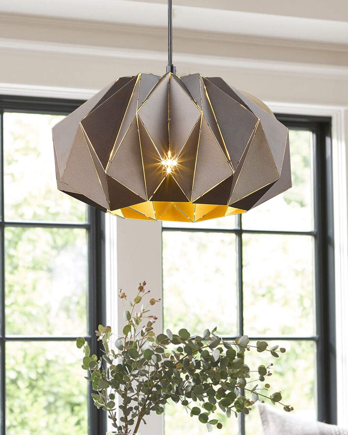 Metal Lantern Pendant Light, VICNIE 13.7 Inches Dining Room Chandelier Hanging Lighting Fixture, Oil Rubbed Bronze Finish with Adjustable Height