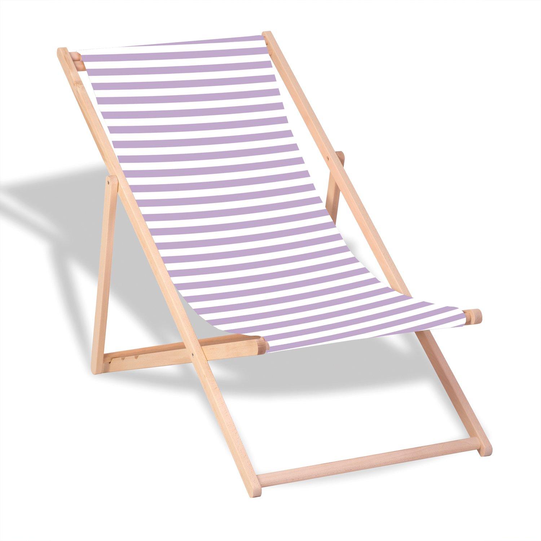 """Queence Dekorativer Holz-Liegestuhl   """"Flieder Streifen""""   klappbar   Gartenliege   Strandliege   Sonnenliege   Gartenmöbel   120x60 cm   Verschiedene Motive, Größe:ca. 120x60 cm"""