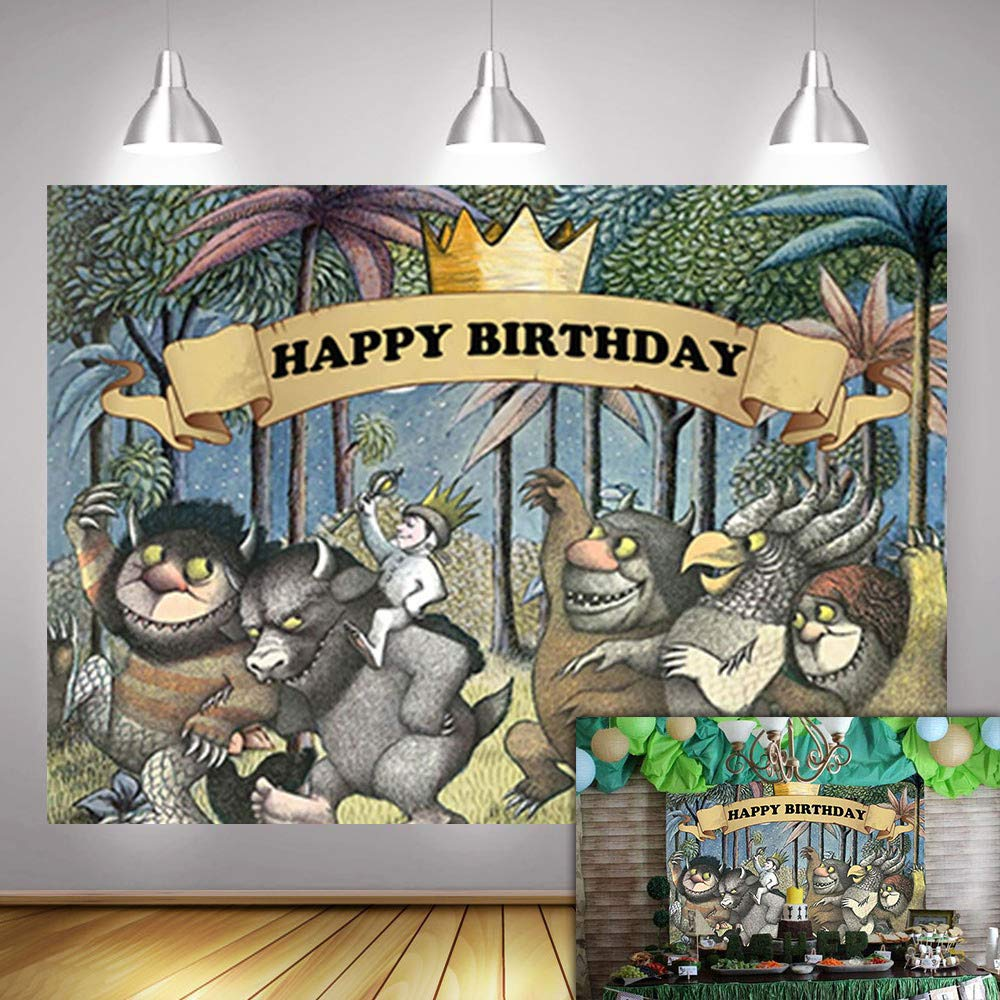 Fanghui 7x5FT Where The Wild Things are Theme Party Backdrop King of The Wild Things Boys Happy Birthday Party Banner Supplies Baby Shower Dress Up Party Photo Background Booth Props