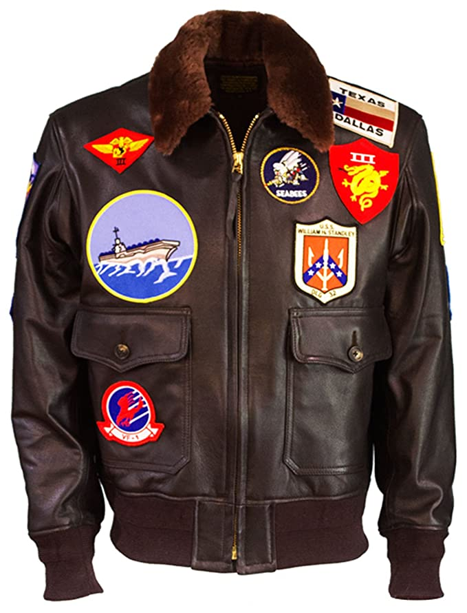 Tom Cruise Top Gun Maverick Fur Collar Patches Shearling Aviator Pilot Bomber Real Leather Jacket