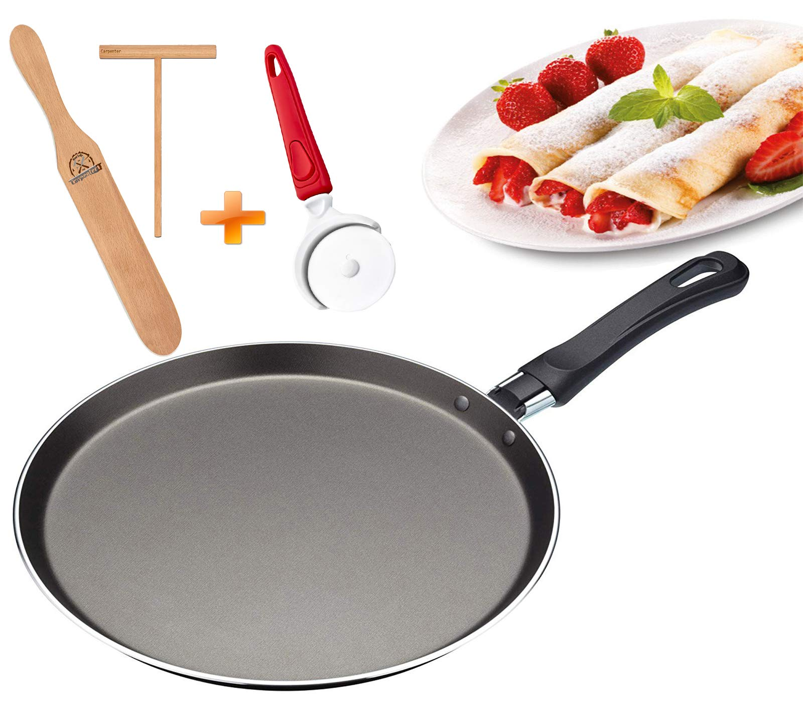 Crepe Pan - Crepe Spatula & Crepe Spreader 3.5'' Set - Double Nonstick Pancake Pan - Healthy Cooking - Ergonomic Handle - Uniform Heat Distribution (Pack 3) by KitchenGear