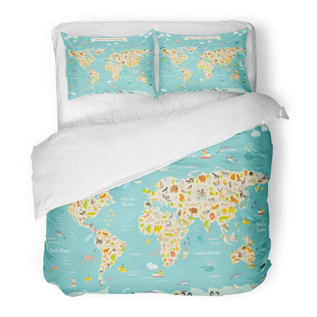 SanChic Duvet Cover Set Map Animal Kid Continent World Animated Child's Drawn Earth Sea Life South America Eurasia Decorative Bedding Set 2 Pillow Shams King Size
