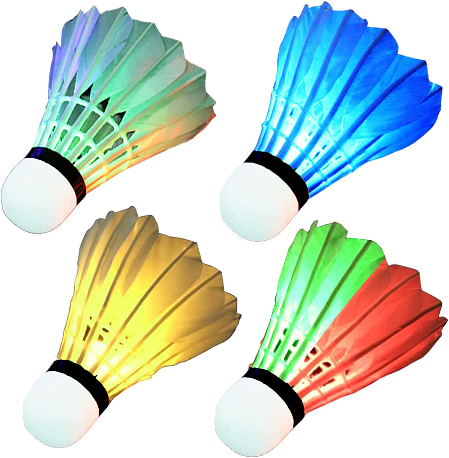 LED Badminton Shuttlecocks Feather Badminton Birdie Light Up Shuttlecock Birdy Badminton for Indoor//Outdoor Sports Activities 4//8 Pack