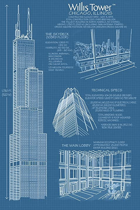 Amazon willis tower blue print chicago il 12x18 art print willis tower blue print chicago il 12x18 art print wall decor travel malvernweather Choice Image