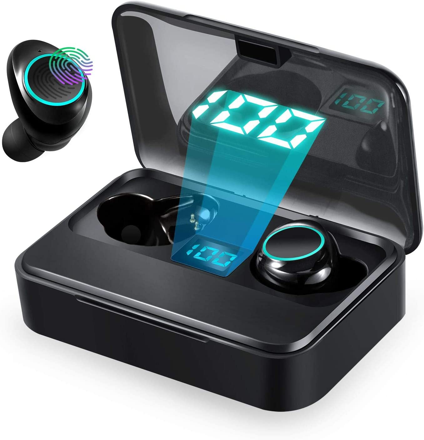 Wireless Earbuds,Newmsnr TWS Bluetooth 5.0 Headphones with 3500mAh Charging Case LED Battery Display 140H Playtime 3D Stereo Sound Noise Canceling IPX7 Waterproof Sport Headset Earphones (Black)