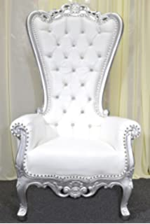 Silver Baroque Hand Carved Throne Chair With White Vinyl U0026 Crystal Buttoning