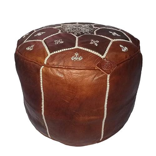 Awe Inspiring Moroccan Leather Pouf Ottoman Almond Tan Amazon Com Ncnpc Chair Design For Home Ncnpcorg