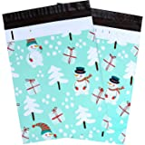 10x13 100-Pack Snowman Designer Poly Mailers, Ohuhu Christmas Shipping Envelope Mailer Bags Sealed Christmas Holiday Gifts Boutique Custom Bag Xmas Mailer Packages with Self Adhesive Strip, Light Blue