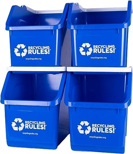 Recycling Rules Azul apilable Cubo de Reciclaje de Recipiente con ...
