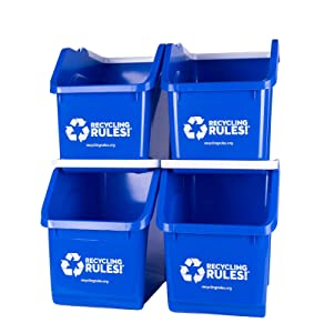 4 Pack of Bins - Blue Stackable Recycling Bin Container with Handle 6 Gallon