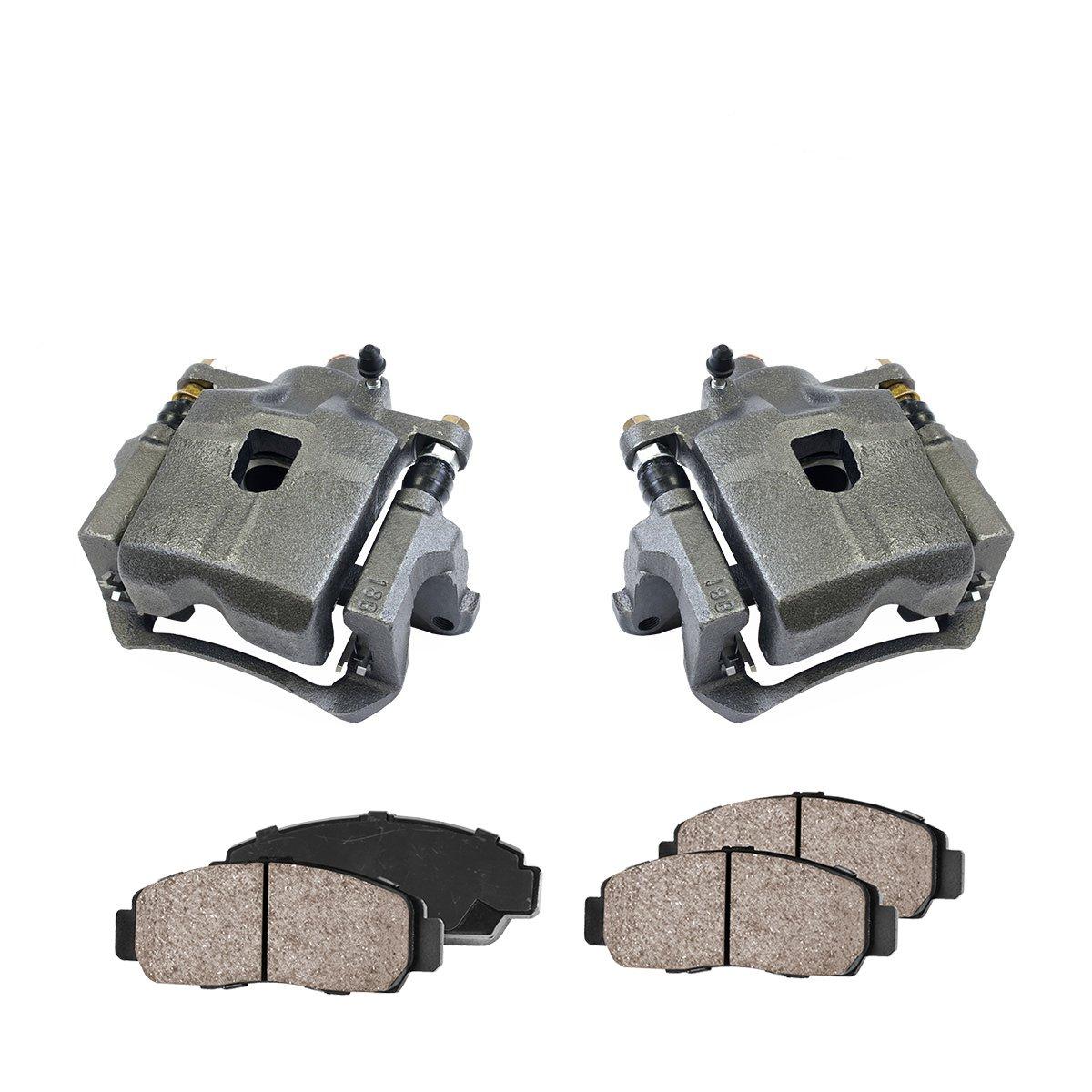 CCK02755 2 4 Quiet Low Dust Ceramic Brake Pads FRONT Premium Loaded OE Caliper Assembly Set +