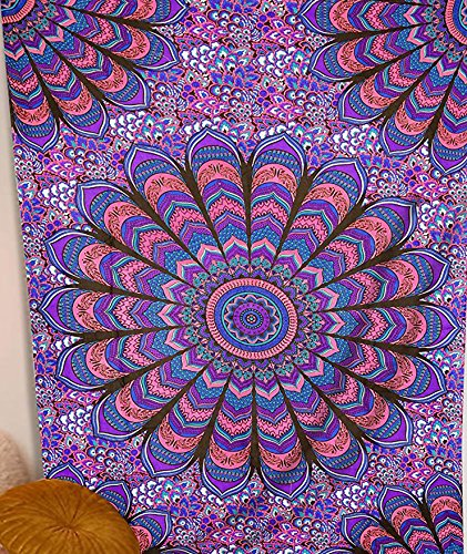 Mandala Decor Tapestries - Hippie Room Indian Wall Hanging Boho Style Sacred Geometry Tapestry, Bohemian Theme Pyschedelic Purple - 52x82 Inches Sacred Geometry Mandala