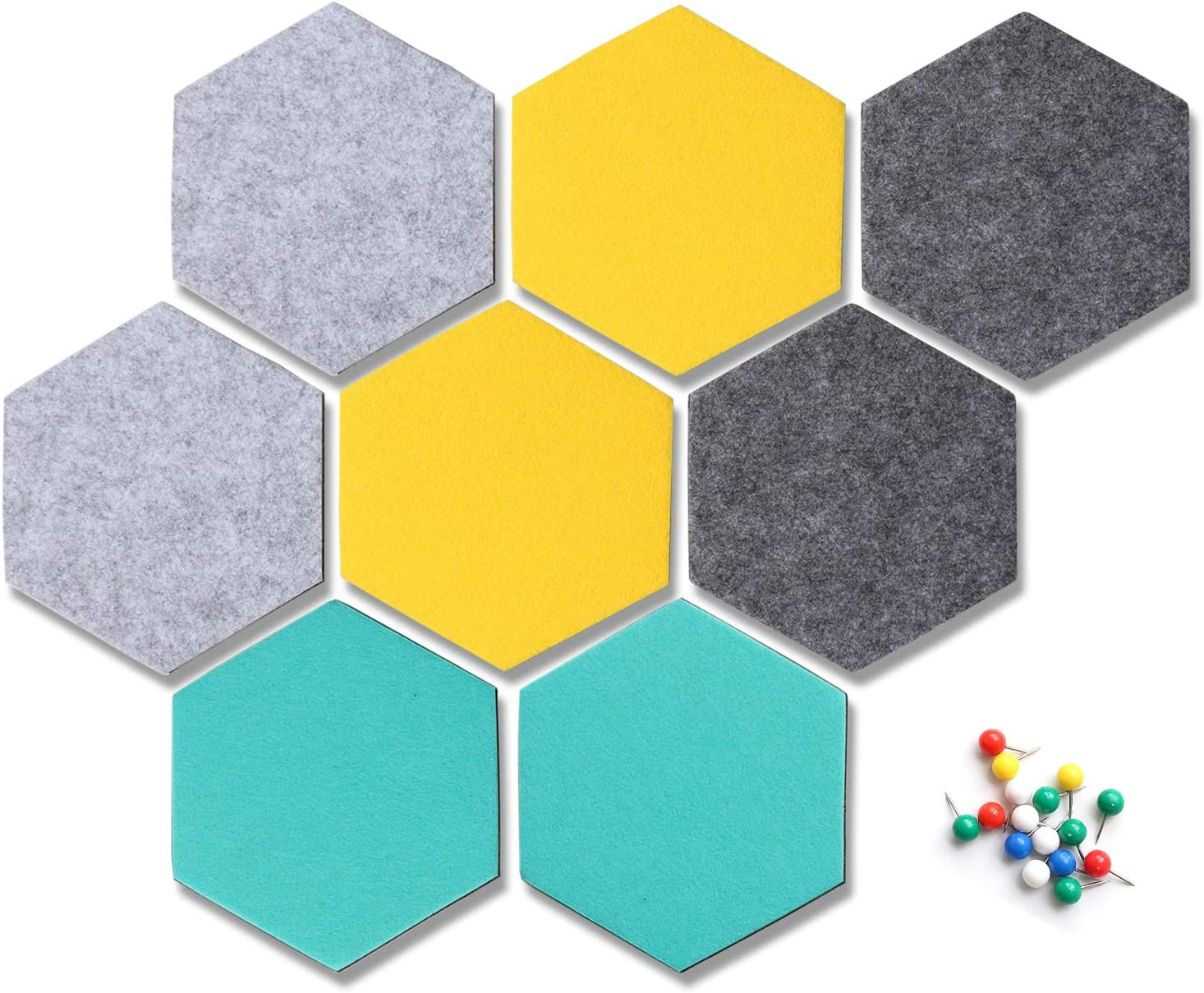 Yoillione Hexagon Felt Board Tiles Felt Memo Board, Bulletin Board Self Adhesive Notice Board Pins for Photos Memos Display, Note Board for Office Bedroom Home Wall Decor with Push Pins