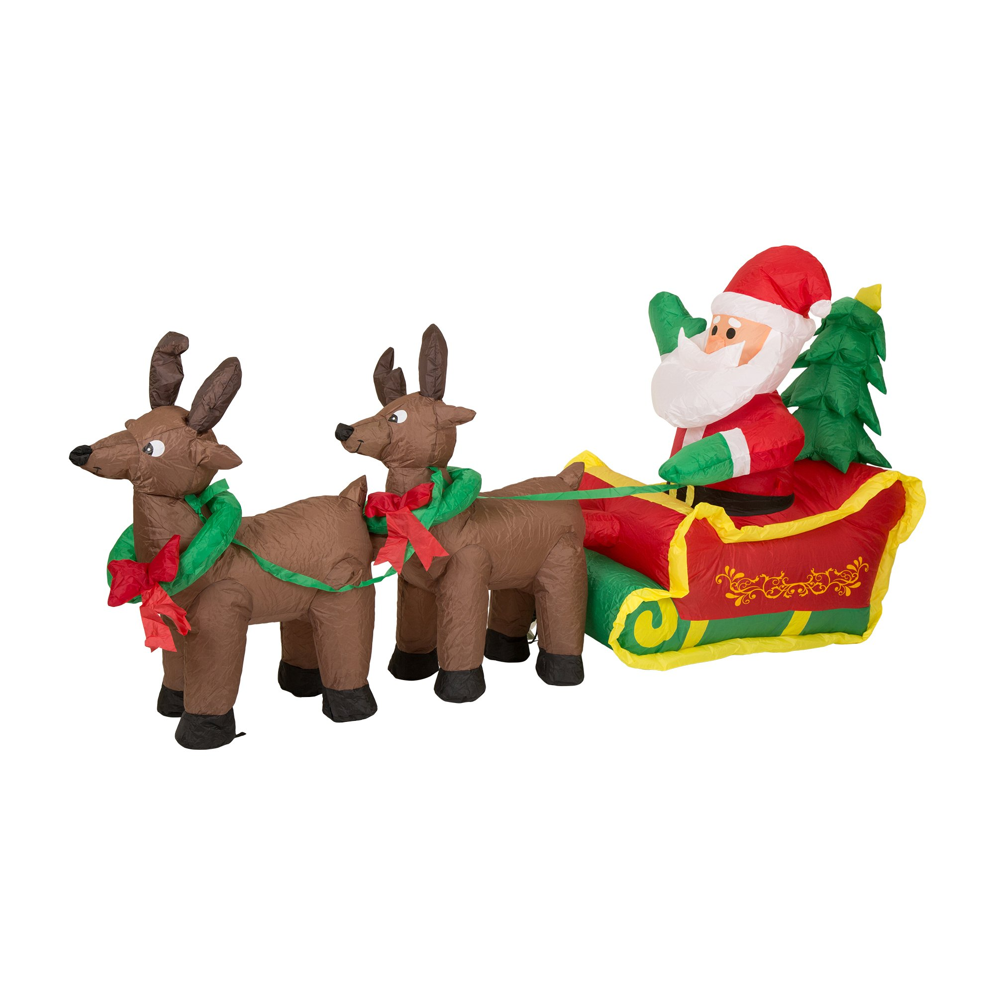 Glitzhome Christmas Outdoor Lighted Inflatable Decor (Santa Sleigh)