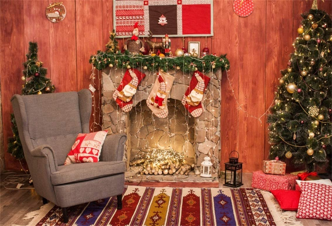 FiVan 10x10ft Christmas Tree Backdrop with Toy Bears and Candles Wreath Design for Newborn Xmas Photos Indoor Christmas Decor Background XT-5045
