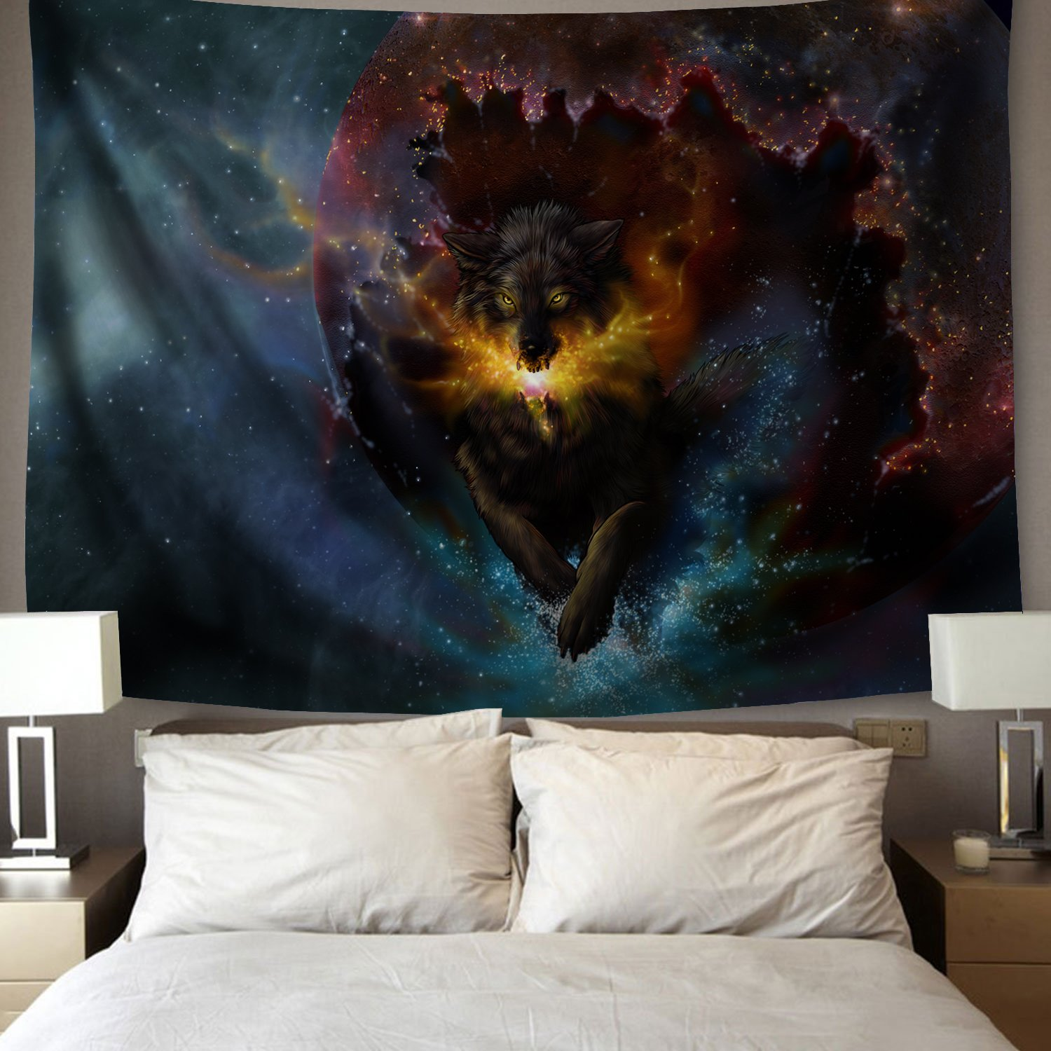 YSJ Home Decor Galaxy Wolf Tapestries Running Wolf Animal Wall Art Tapestry Living Dorm Beach Throw Tapestries Wall Hanging Colorful (200x150 cm / 78x59 inches)