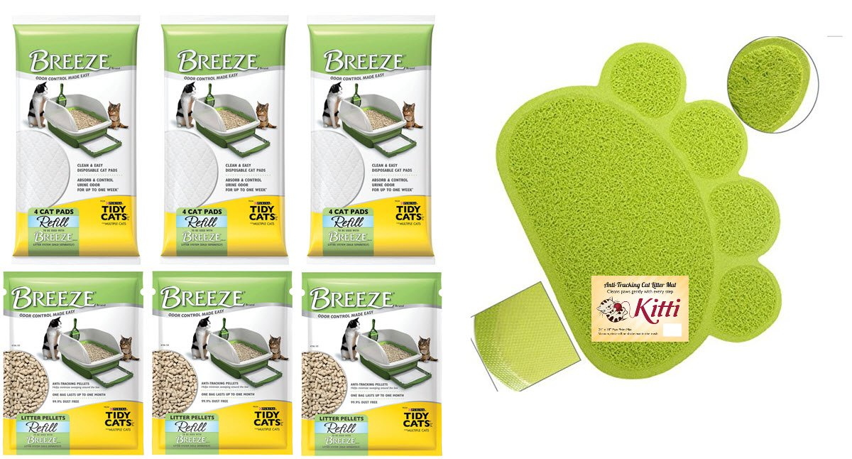 Tidy Cats Breeze Litter Pads and Breeze Litter Pellet Bundles (Green Paw Bundle) by Tidy Cats
