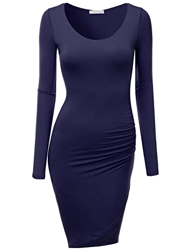 J.TOMSON Women's Casual 3/4 & Long Sleeve Bodycon Midi Dress