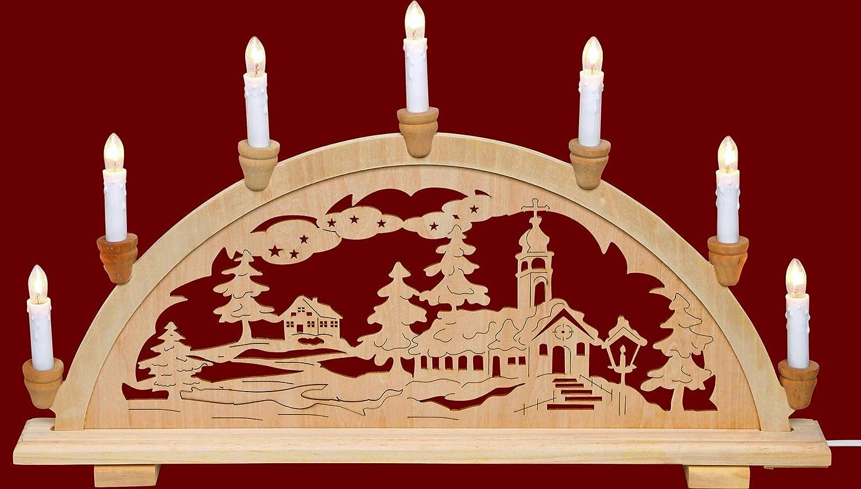 yanka-style Schwibbogen Lichterbogen Leuchter Waldmotiv traditionelles Motiv 7flammig Weihnachten Advent Geschenk Dekoration 83122