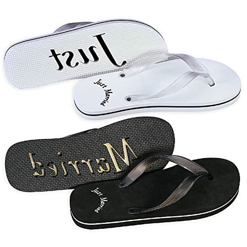 81d18d0a77f4b1 Weddingstar Inc. Just Married flip Flops for Bride and Groom