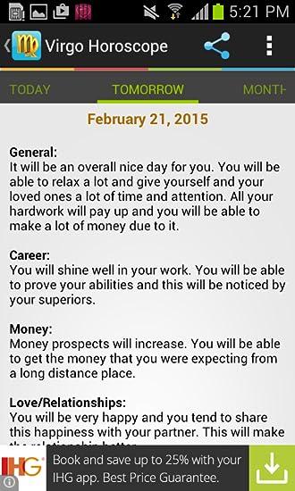 Amazon com: Virgo Horoscope: Appstore for Android