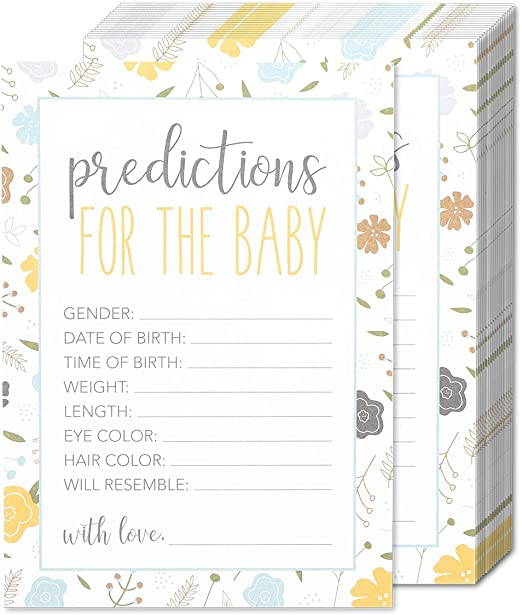 Pack of 10 Baby Shower Prediction /& Advice Party Game Quiz Boy Girl Unisex