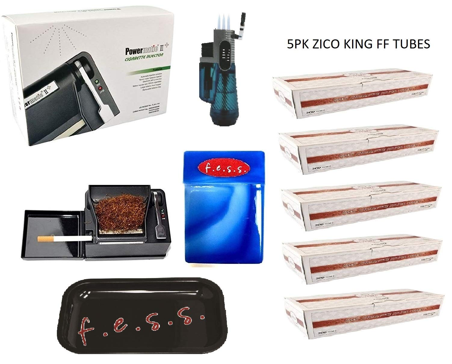 Powermatic 2 PLUS Electric Cigarette Injector Machine+ Two FREE Tubes,Cig Case & Two liters by F.e.s.s. Products