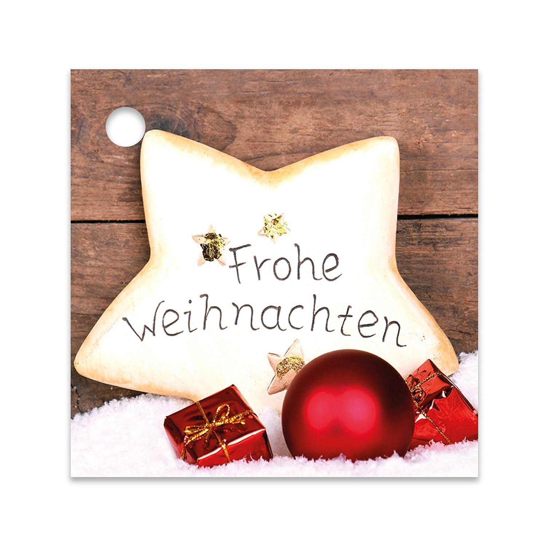 25er Pack Geschenkanhänger Frohe Weihnachten Stern ca. 55 x 55 mm ...